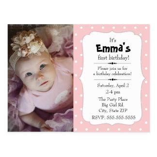 Pink and White Polka Dot Little Girl Birthday Postcard
