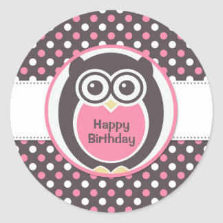 Pink and White Polka Dot Owl Birthday Sticker