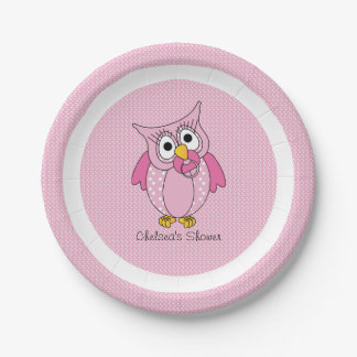 Pink and White Polka Dot Owl | Personalize 7 Inch Paper Plate
