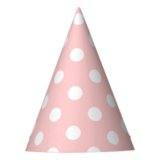 Pink and White Polka Dot Pattern Party Hat