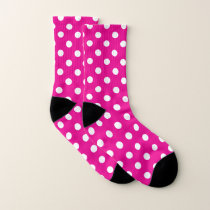 Pink and White Polka Dot Pattern Socks
