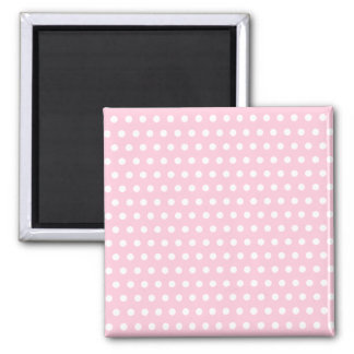 Pink and White Polka Dot Pattern. Spotty. 2 Inch Square Magnet