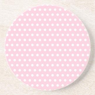 Pink and White Polka Dot Pattern. Spotty. Beverage Coaster