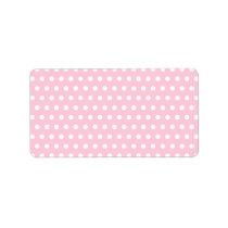 Pink and White Polka Dot Pattern. Spotty. Label