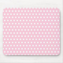 Pink and White Polka Dot Pattern. Spotty. Mouse Pad
