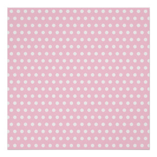 Pink and White Polka Dot Pattern. Spotty. Poster