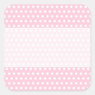 Pink and White Polka Dot Pattern. Spotty. Square Sticker