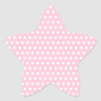 Pink and White Polka Dot Pattern. Spotty. Star Sticker