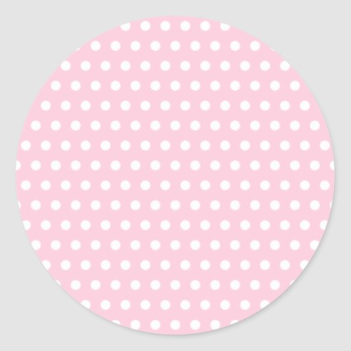 Pink and White Polka Dot Pattern. Spotty. Round Stickers