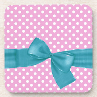 Pink and White Polka Dots and Green Bow Gift Item Drink Coaster