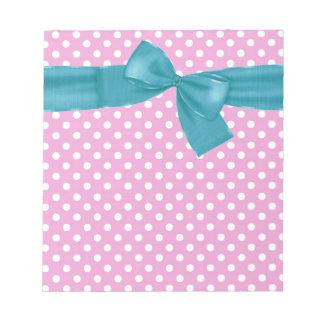 Pink and White Polka Dots and Green Bow Gift Item Notepad