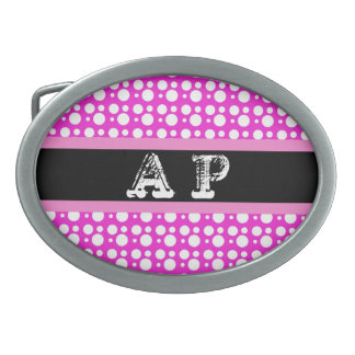 pink and white polka dots belt buckle