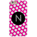 Pink and White Polka Dots Black Circle Monogram Barely There iPhone 6 Plus Case