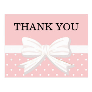 Pink and White Polka Dots & Bow Birthday Thank You Postcard
