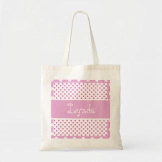 Pink and White Polka Dots Bride or Bridesmaid V36 Tote Bag