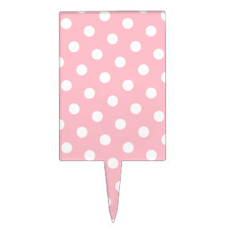 Pink and White Polka Dots Cake Topper