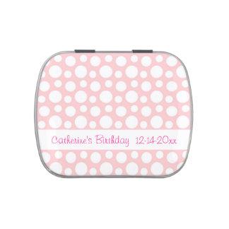 Pink and White Polka Dots Custom Name Birthday Candy Tin