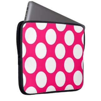 Pink and White Polka Dots Electronics Bag Laptop Computer Sleeves