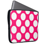 Pink and White Polka Dots Electronics Bag Computer Sleeve