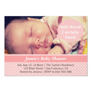 Pink and White Polka Dots Girl Baby Shower Photo Invite