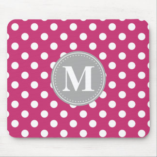 Pink and White Polka Dots Grey Monogram Mouse Pad