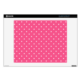 Pink and white polka dots laptop decal