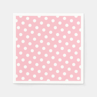 Pink and White Polka Dots Standard Cocktail Napkin