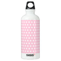 Pink and White Polka Dots Pattern. Aluminum Water Bottle