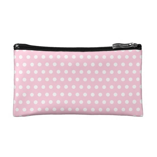 Pink and White Polka Dots Pattern. Cosmetic Bags