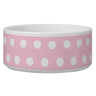 Pink and White Polka Dots Pattern. Bowl