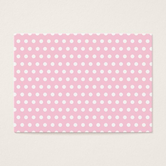 Pink and White Polka Dots Pattern. Business Card