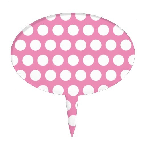 Pink and White Polka Dots Pattern Cake Topper