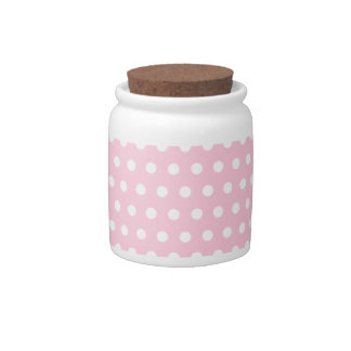 Pink and White Polka Dots Pattern. Candy Jars