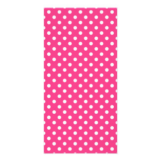 Pink and White Polka Dots Pattern Card