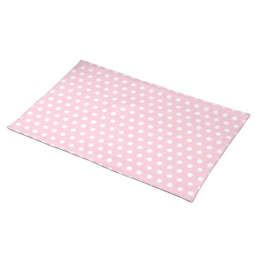 Pink and White Polka Dots Pattern. Cloth Placemat