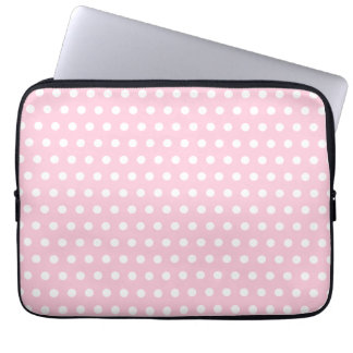Pink and White Polka Dots Pattern. Computer Sleeve