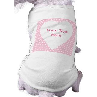 Pink and White Polka Dots Pattern. Dog Tee Shirt
