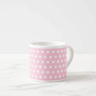 Pink and White Polka Dots Pattern. Espresso Cup