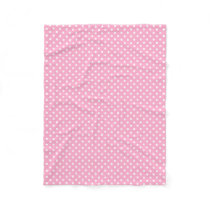 Pink and white polka dots pattern fleece blanket