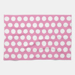 Pink and White Polka Dots Pattern Hand Towel