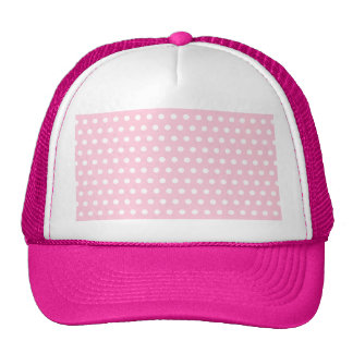 Pink and White Polka Dots Pattern. Mesh Hat
