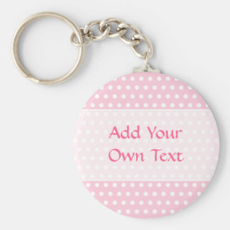 Pink and White Polka Dots Pattern. Keychain