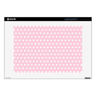 Pink and White Polka Dots Pattern. Laptop Skins