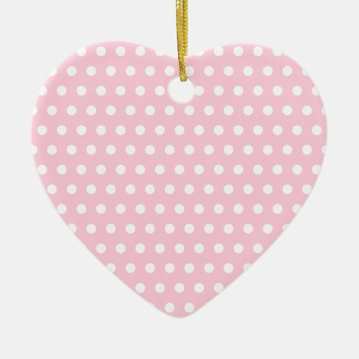 Pink and White Polka Dots Pattern. Double-Sided Heart Ceramic Christmas Ornament