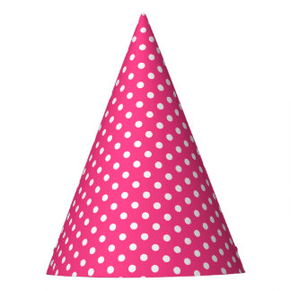 Pink and White Polka Dots Pattern Party Hat