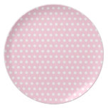 Pink and White Polka Dots Pattern. Party Plate