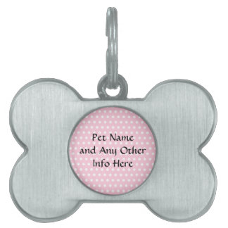 Pink and White Polka Dots Pattern Pet Tag