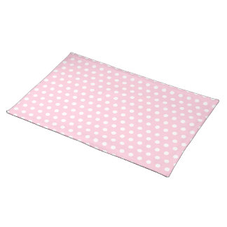 Pink and White Polka Dots Pattern. Placemat