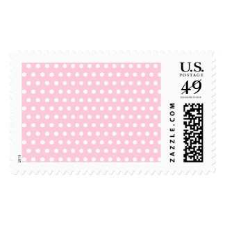 Pink and White Polka Dots Pattern. Postage Stamp
