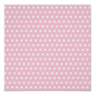 Pink and White Polka Dots Pattern. Poster